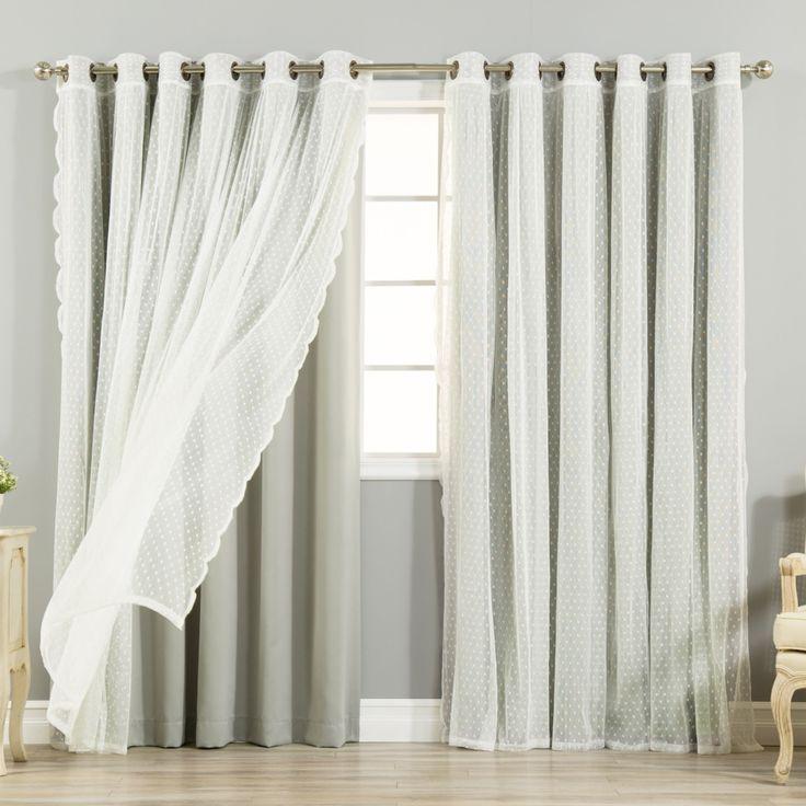 Aurora Home MIX & Match Curtains Wide Width Blackout Dot Lace Sheer Bronze Grommet 4-piece Curtain Panel Pair
