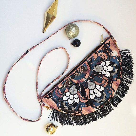 SEMICIRCLE STATEMENT Shoulder bag with black fringing and vinyl printed jewels by dAKOTArAEdUST