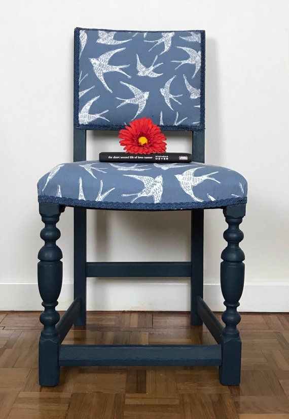 Bedroom Chair Navy Upholstered Desk Chairs With Wheels Bird Print Fabric Backed Painted Furniture Hallway Occasional