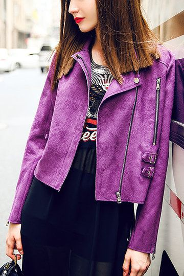 Purple Lapel Collar Biker Jacket with Zipper Detail
