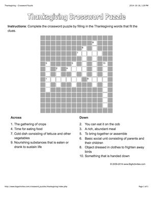Thanksgiving crossword puzzle that changes each time you visit