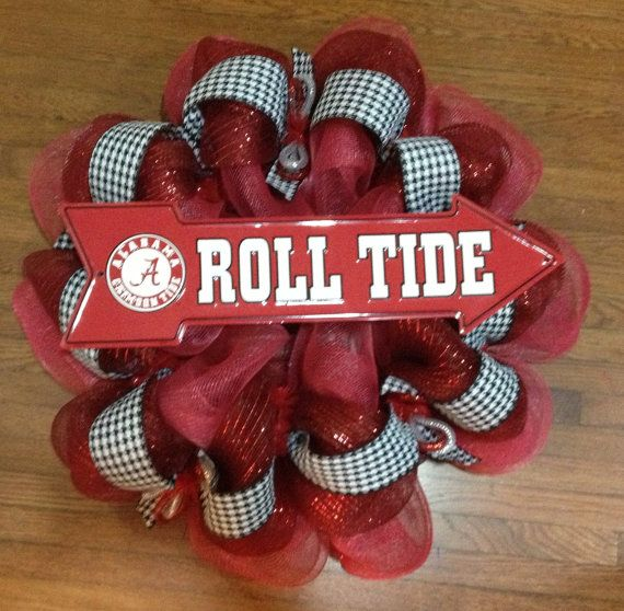 Alabama football wreaths and door decor | Alabama Crimson Tide Deco Mesh Door Wreath - Roll Tide Decoration