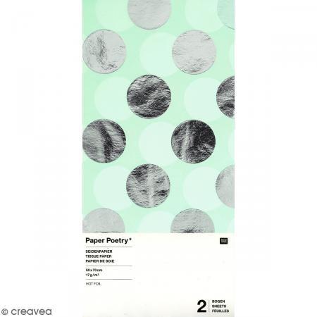 Papel de seda - Puntos plateados sobre fondo verde menta - 50 x 70 cm - 2 uds - Fotografía n°1