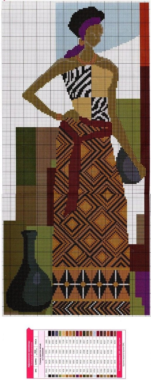 cross stitch african lady and jar