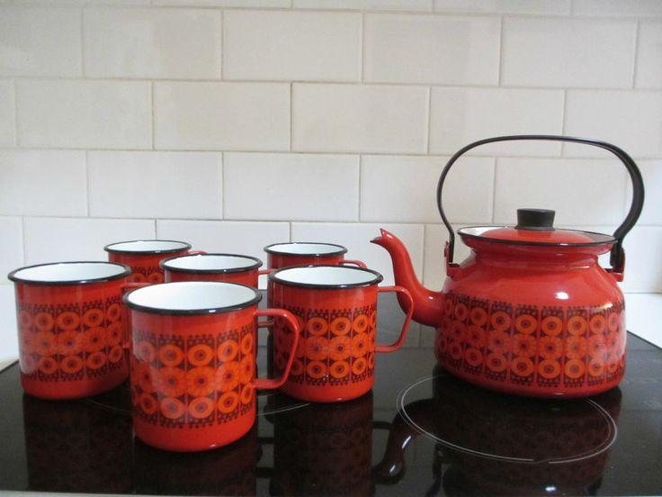 Mid century  ARABIA FINEL enamel teapot : KAJ FRANCK Finland retro design