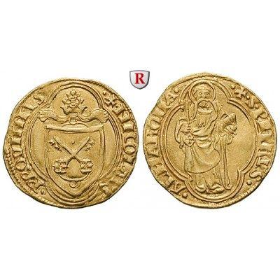 Vatikan, Nikolaus V., Ducato papale o.J., vz: Nikolaus V. 1447-1455. Ducato papale o.J. Rom. Wappen im Vierpass / St. Petrus im… #coins