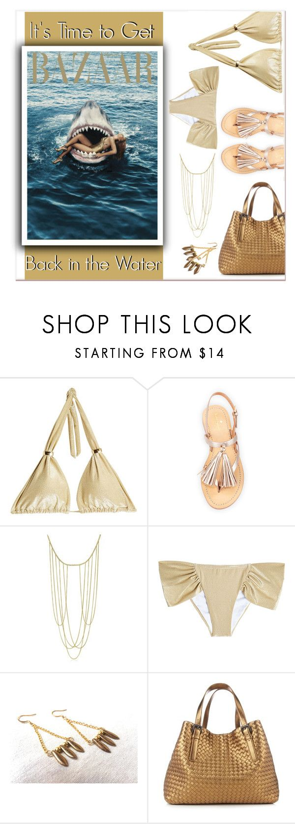 Get Back in the Water by funnfiber on Polyvore featuring OndadeMar, Kate Spade, Bottega Veneta and Adoriana; #gold #bikini #shark #swimsuit #swim #suit #jaws #funny #sandals #bodydchain #spike #earrings #totebag
