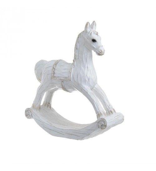 POLYRESIN ROCKING HORSE IN ANTIQUE WHITE 25_5Χ7_5Χ28