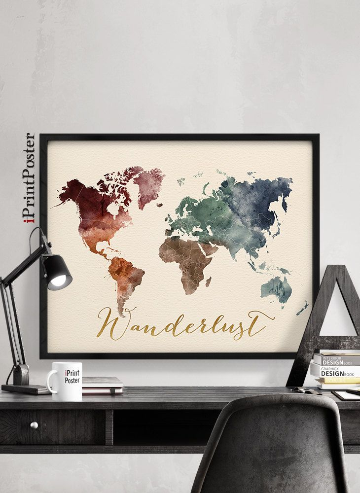108 best world map posters images on pinterest room wall decor world map art print world map poster world map watercolour poster art print travel decor wall art home decor gift iprintposter gumiabroncs Gallery