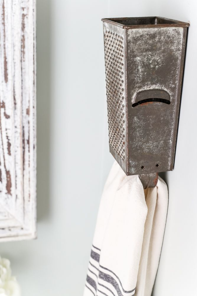 Antique Box Grater Towel Rack + A Touch of Farmhouse Charm | http://blesserhouse.com - A repurposed antique box grater towel rack plus more DIY project ideas for a farmhouse style home from the book A Touch of Farmhouse Charm.