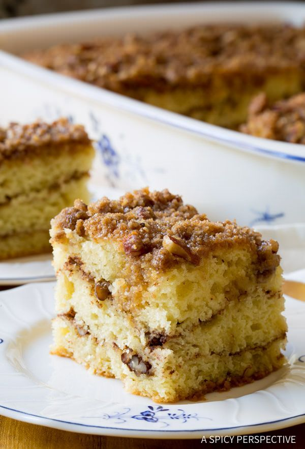 Kahlua Coffee Cake Recipe, a fabulous sour cream coffee cake with Kahlua crumble topping. This is the BEST coffee cake we've ever tried, so tender with a