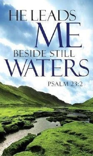 Psalm 23:2 (ESV) - He makes me lie down in green pastures.  He leads me beside still waters.