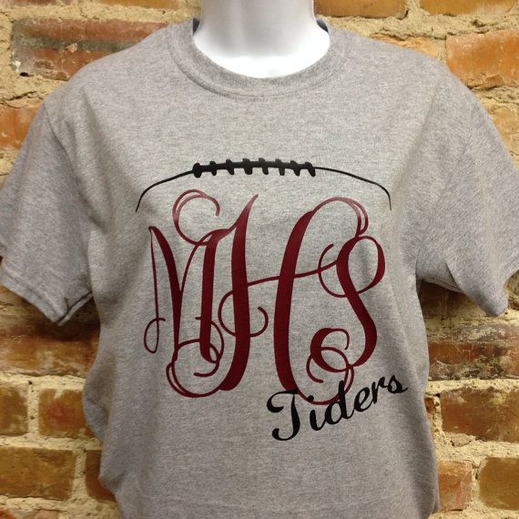This is our unique monogrammed football t-shirt available in short or long sleeve. Includes team monogram and mascot name (or leave blank for