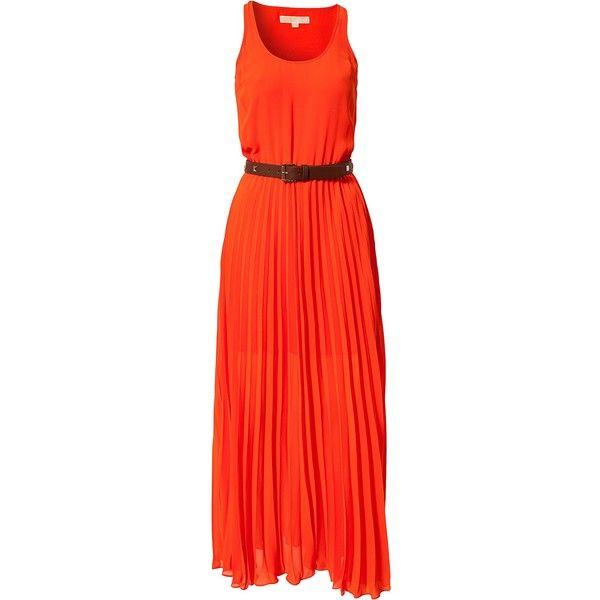 Michael Michael Kors Tank Dress (1 130 PLN) ❤ liked on Polyvore featuring dresses, orange, party dresses, vestido, womens-fashion, red orange dress, tank dresses, long pleated dress, red dresses and long dresses