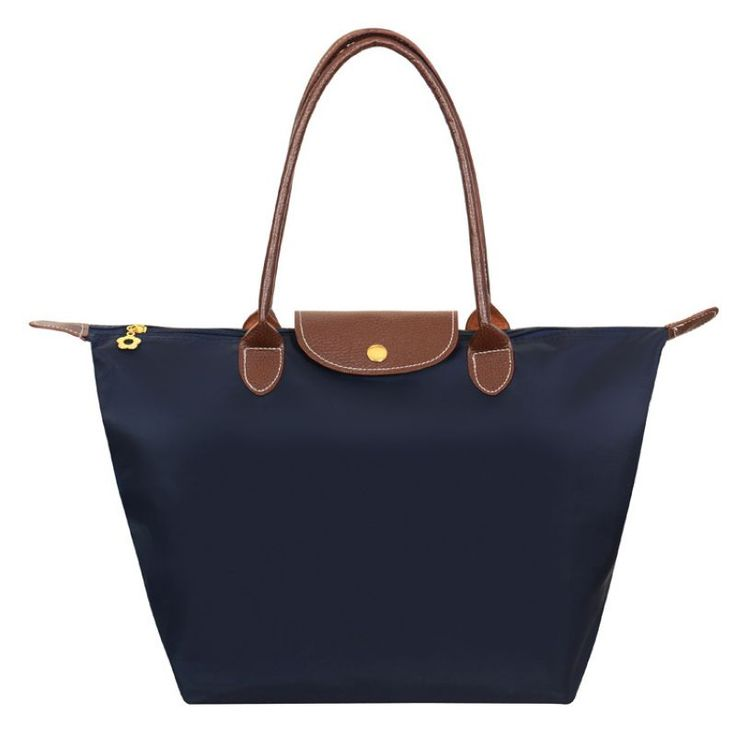 Large Nylon Shoulder Tote Bags Navy with Brown Leather Trim