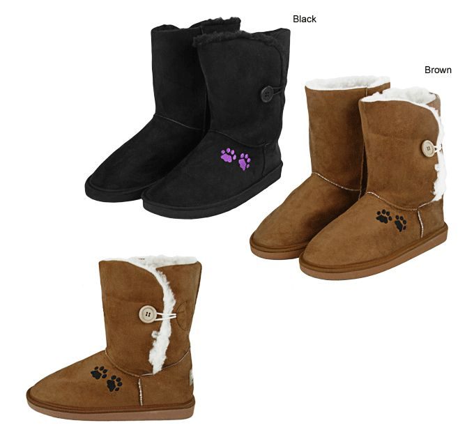 Purple Paw Microfiber Sherpa Lined Button Boots $25.00