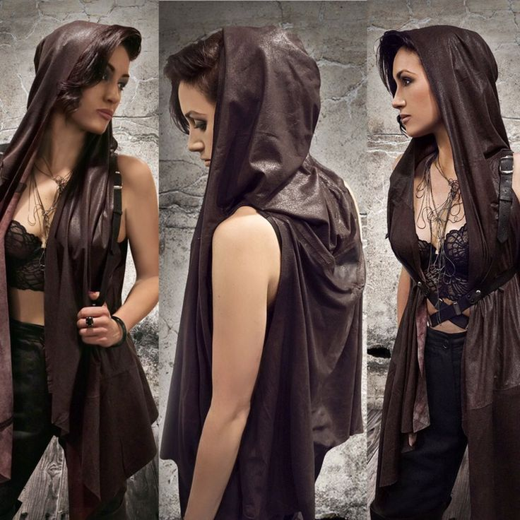 New leather hooded cloak