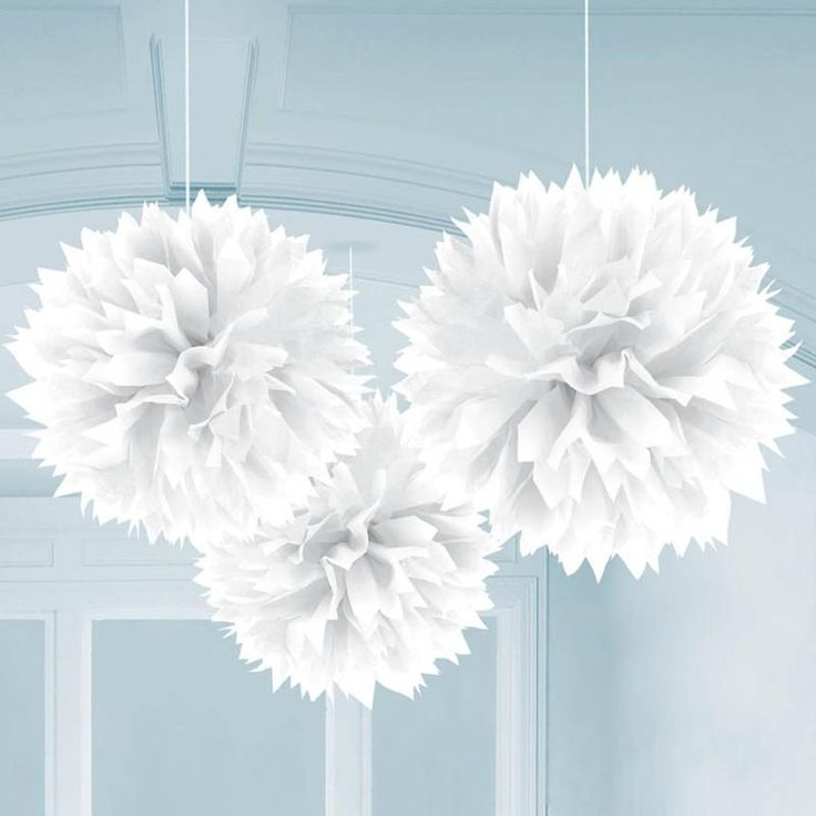 """White 16"""" Fluffy Decorations: every purchase through this link supports charity"""