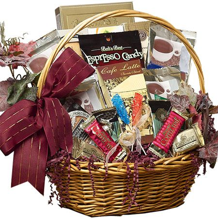 Impress friends, family or your most important business clients with this beautiful gift basket filled with premium coffees, sweets and great gourmet java go-togethers presented in a traditional willow basket accented with ivy.
