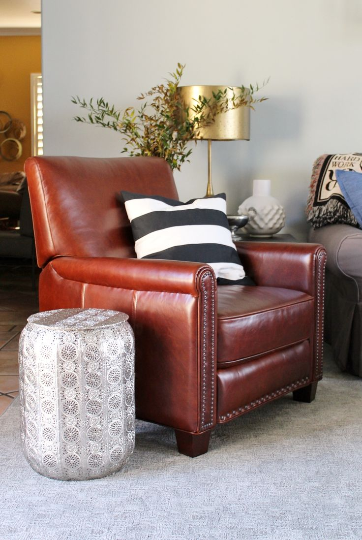 A Leather Recliner with Nailhead Details from Pottery Barn in the Living Room, Dallas Amante Interiors