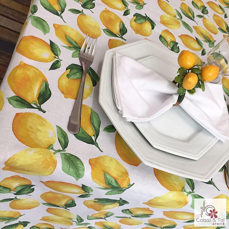 Toalha de mesa em estampa Limão Siciliano. Feita sob medida. contatocoisasetal@hotmail.com