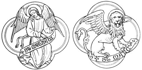 The symbols of St Matthew and St Mark, from Fictitious and Symbolic Creatures in Art: Celestial Beings: Emblems of the Four Evangelists, by John Vinycomb, 1909. (sacred-texts.com)