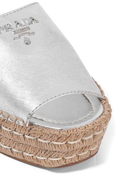 Prada - Embellished Metallic Leather Espadrille Sandals - Silver - IT38.5