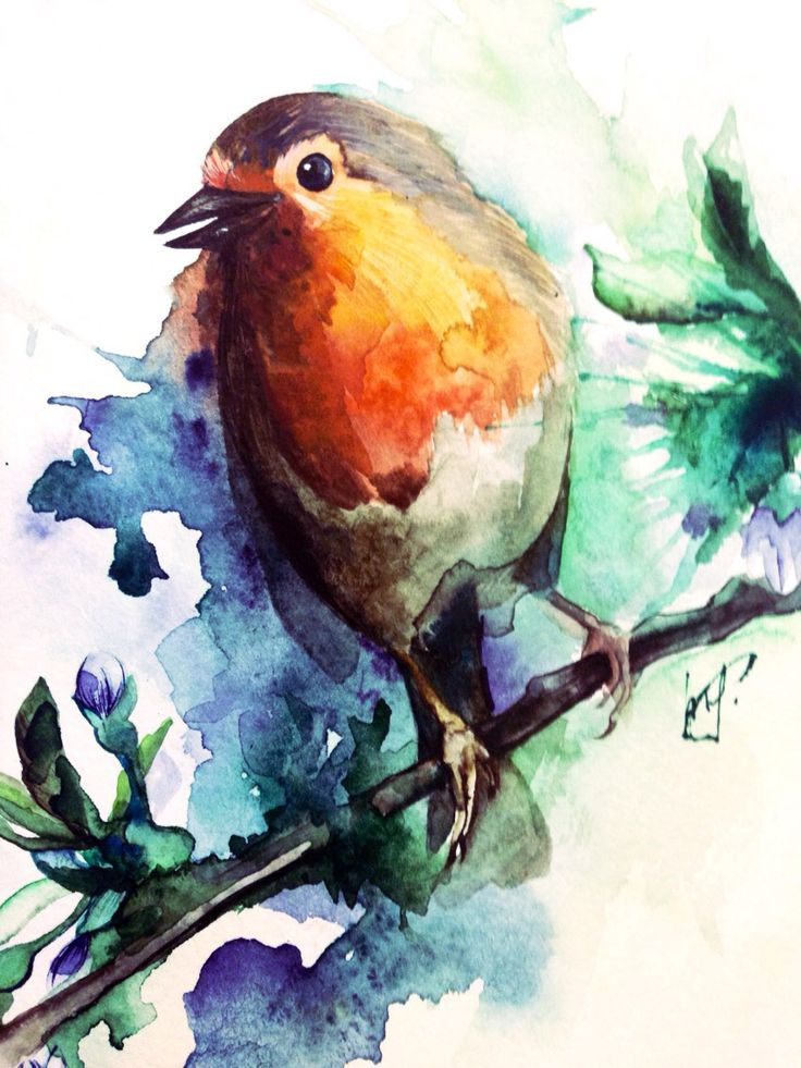 Птичка на ветке. Акварель