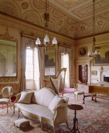Robert Adam Interiors | View of the Saloon at Nostell Priory showing the  Robert Adam ceiling