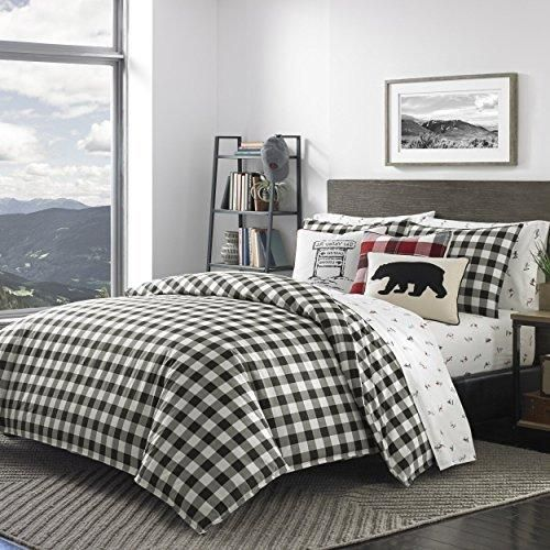 Black Plaid Full Queen Size Duvet Cover Set White Checked Bedding Cabin Themed Lodge Lumberjack Pattern Outdoors Country Squared Hunting Checkered - Diamond Home USA