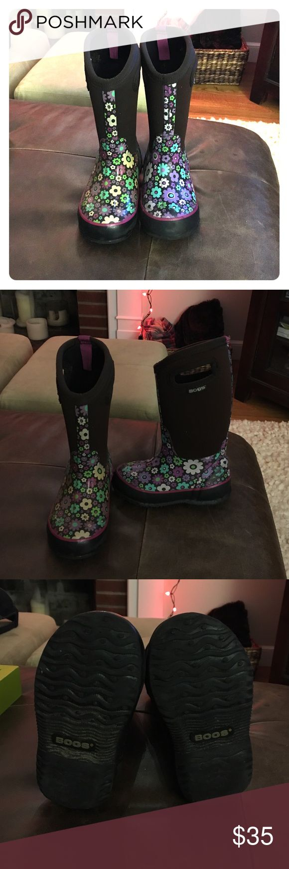 BOGS rain/winter boots BOGS rain/winter boots, size 10. The boots are brown with daisy flower detail. Bogs Shoes Rain & Snow Boots