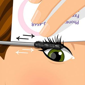 mascara trick; hold an old credit or business card above upper lashes and wiggle the brush away back and forth at the roots. This applies a thick layer of dark color at the lash line, eliminating the need for liner.
