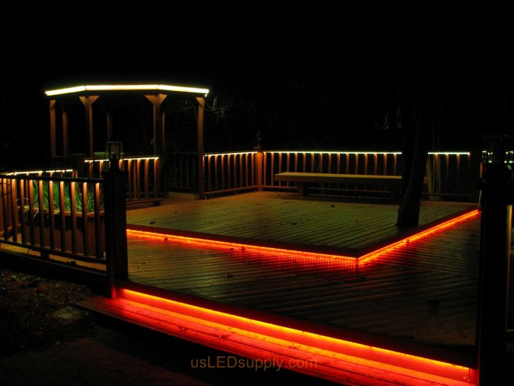 deck lighting ideas | LED Deck Lighting with RGB Flexible LED Strips under railings and deck ...