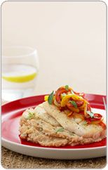 Grilled fish with caponata & butter bean mash