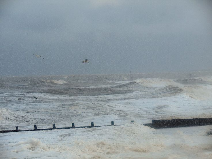 High Tide at Hornsea Beach by Tom Wood