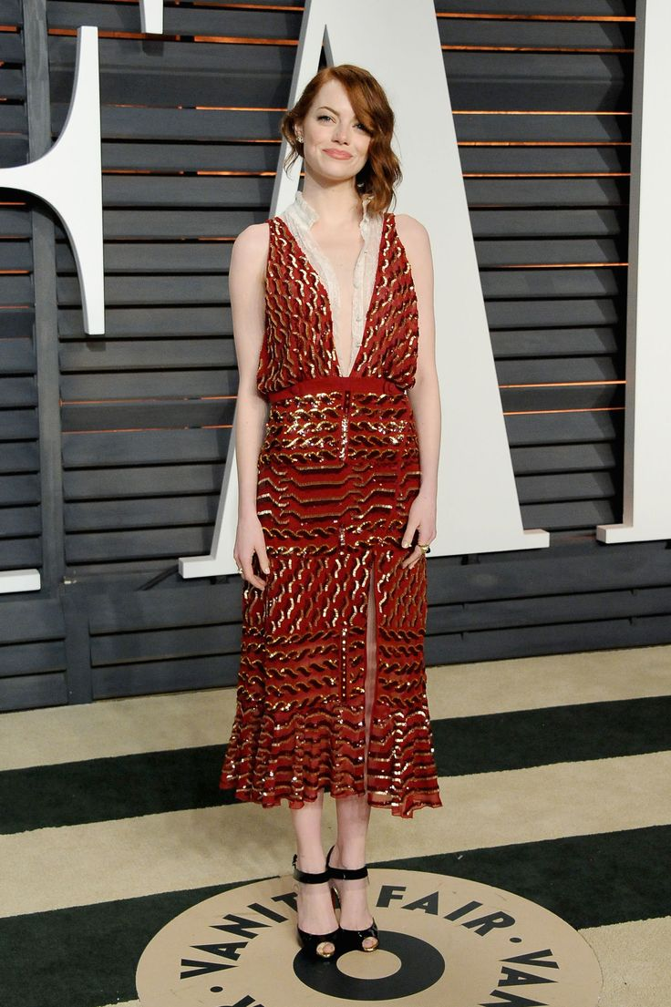 Emma Stone in an Altuzarra fall 2015 dress at the Vanity Fair Oscar Party. Photo: Pascal Le Segretain/Getty Images