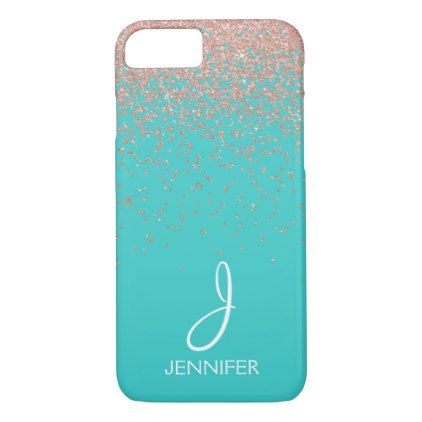 Rose Gold Glitter and Teal Monogram Case-Mate iPhone Case ...