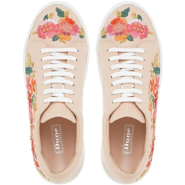 Dune Evanna Embroidered Lace Up Trainers (336.025 COP) ❤ liked on Polyvore featuring shoes, sneakers, canvas sneakers, plimsoll shoes, embroidered sneakers, laced shoes and laced up shoes