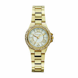 Michael Kors Gold Plated Steel Small Round Gold Roman Numerals Dial Crystal Set Bezel And In Dial 50M Water Resist Watch