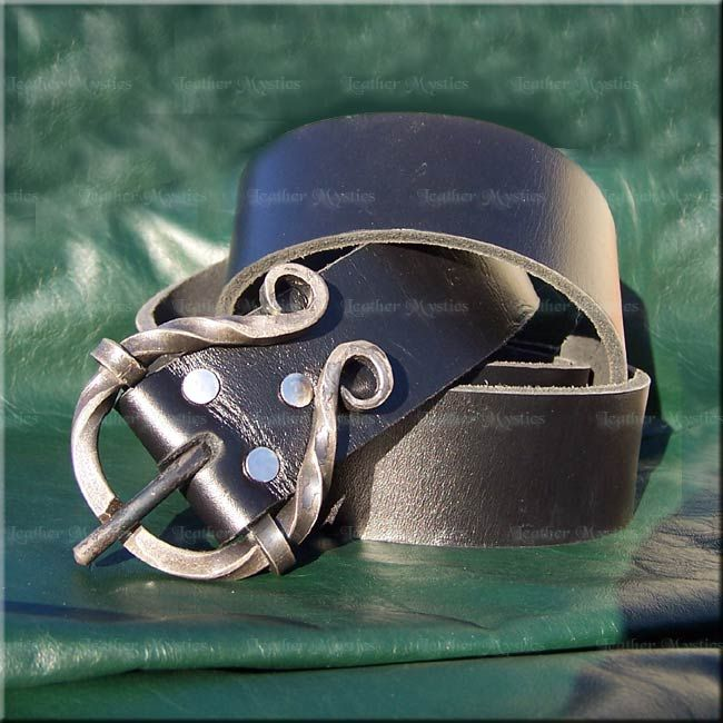solid leather belt with hand-forged iron buckle from LeatherMystics.com