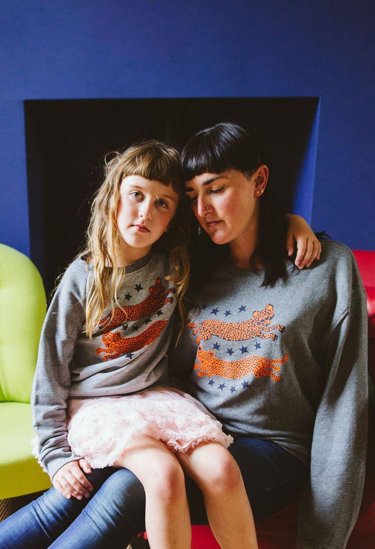 'Leopard Crew' Organic Cotton Womens Fair Wear Sweatshirts :: Pastel Pink & Gold on Light Grey | Sas and Yosh