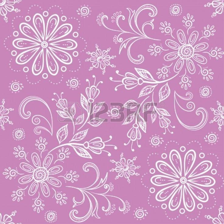 Абстрактные цветочные фон, символическими цветами наброски. Вектор Фото со стока - 23656154