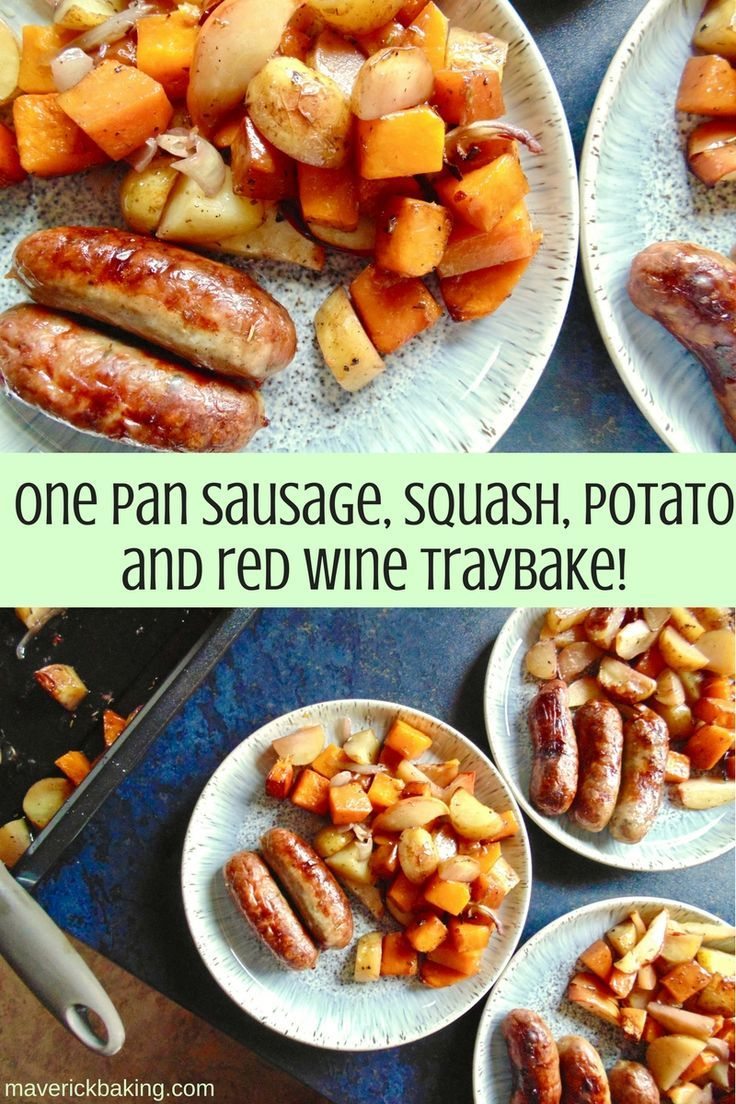 One Pan Sausage, Squash, Potato and Red Wine Traybake! Crisp sausages, lovely roasted butternut squash and potatoes in a herby red wine dressing. All with hardly any washing up! A healthy recipe for all year round.