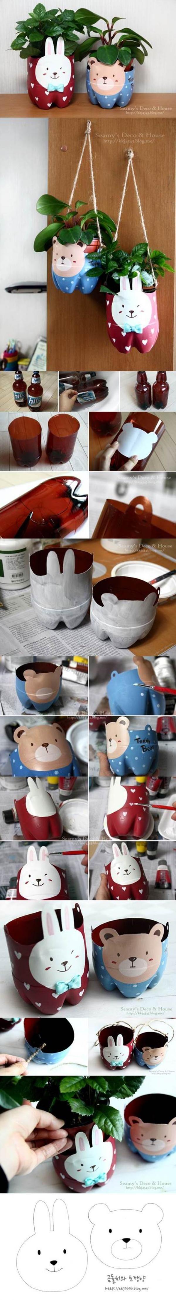 Lapin, ourson fabriquez des pots de fleurs amusants avec des bouteilles plastique..