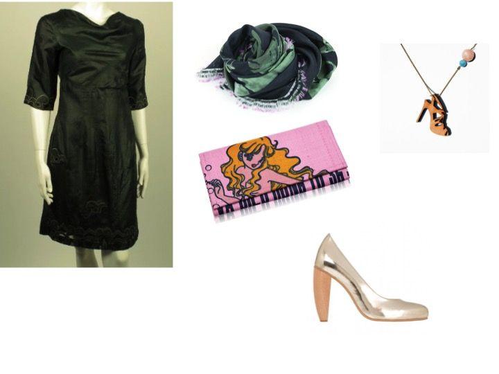 Jurk : Culture Fabric bij FabulousFairFashion / Sjaal : Hellen van Berkel / Clutch : Fikay / Schoenen : Sydney Brown / Halsketting : All Things We Like / Sjaal, clutch en halsketting : Maryshoppings