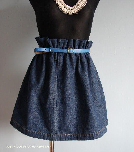 DIY TUTORIAL ruffled waist skirt jak uszyć spódniczkę dżinsową z podwyższoną talią diy tutorial
