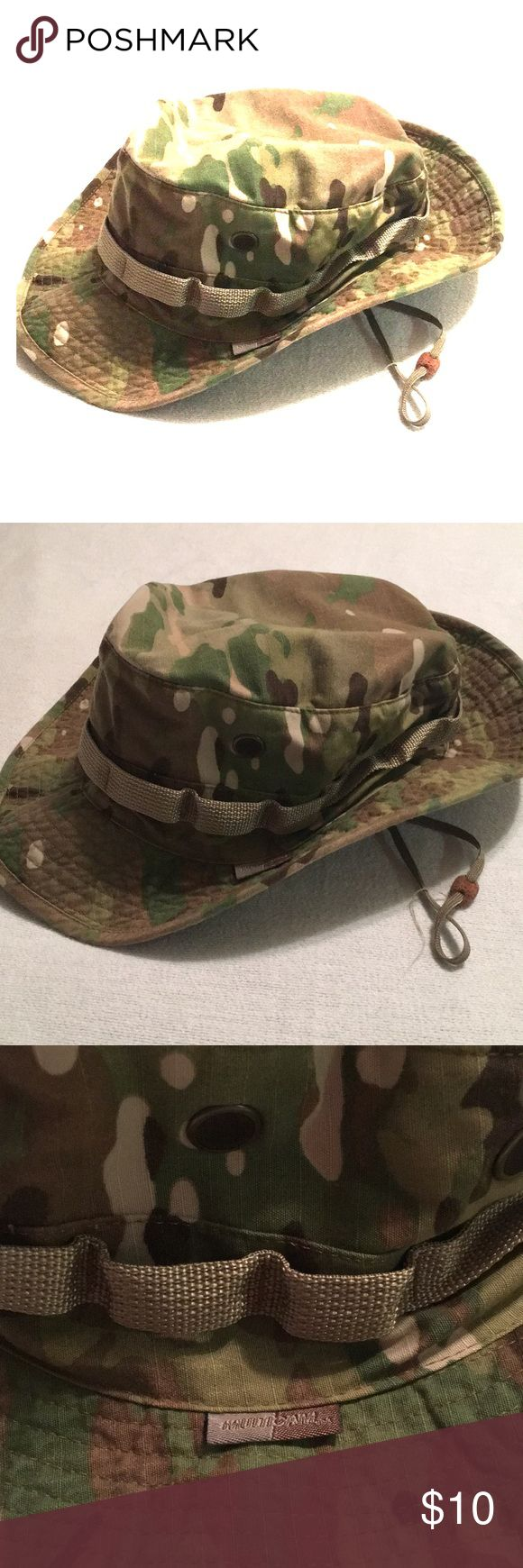 Multicam Military Camo Boonie Hat BRAND: Brigade QM SIZE: L (7 1/2) CONDITION: 10/10 DAMAGE/WEAR: None COLOR: Camo  Nice sun hat, boonie style. Great for the beach, lake, hunting or mowing. Lightweight and comfortable. Multicam camo pattern. No holes, odors or stains. Smoke & pet free. Brigade QM Accessories Hats