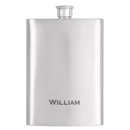 Brushed metal personalized name flask - monogram gifts unique design style monogrammed diy cyo customize