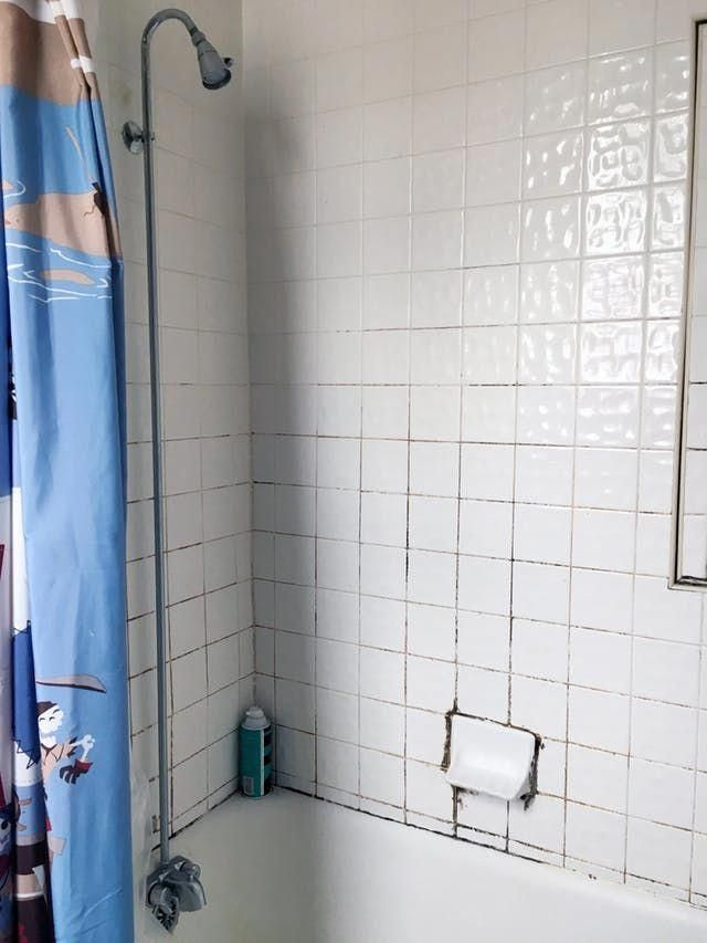 The Best Thing We Did To This Rental Bathroom Was Almost Free Rental Bathroom Bathroom Shower Tile Shower Tile