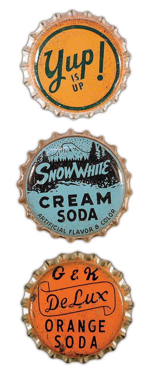 vintage bottle caps  #vintage #typography: Bottle Caps, Vintage Typography, Vintage Bottle, Cap Types, Old Bottle, Vintage Design, Sodas Pop, Sodas Cap, Snow White